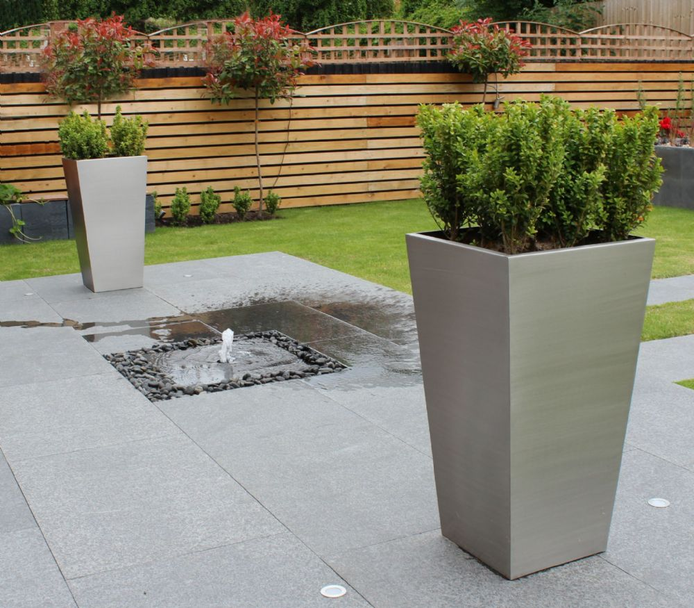 Brushed Stainless Steel Tapered Square Planters From